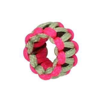 Handgefertigte Großloch-Perle, 9 mm, lindgrün-pink lindgrün-pink