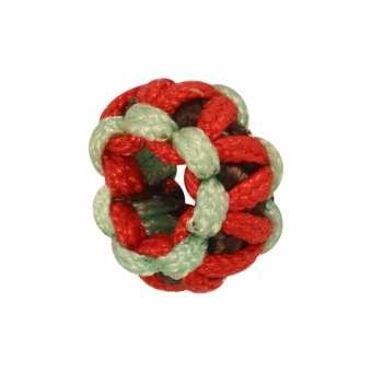 Handgefertigte Großloch-Perle, 9 mm, rot-lindgrün rot-lindgrün