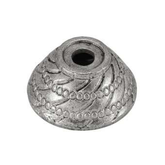 Perlenkappe, Metall, 16X16mm, Metall, silberfarben
