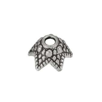 Perlenkappe, Metall, 10X5mm, Metall, silberfarben
