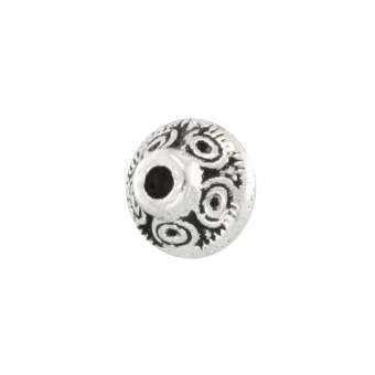 Perle mit Ornament, 6X6mm, rund, silberfarben silberfarben