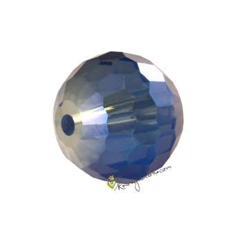 Glasschliffperle, Chessboard, 8mm, blau metallic