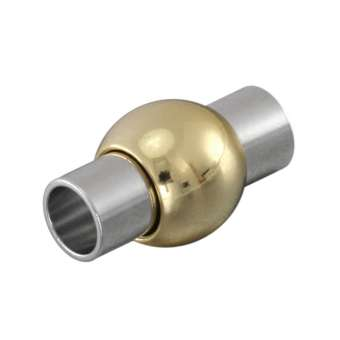 Magnetverschluss, 18X10mm, Loch-Ø 5mm, Metall, silber-goldfarben