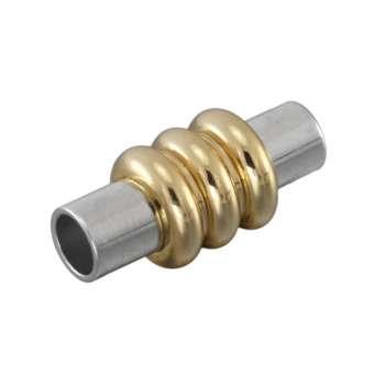 Magnetverschluss, 17X8mm, Loch-Ø 3mm, Metall, silber-goldfarben
