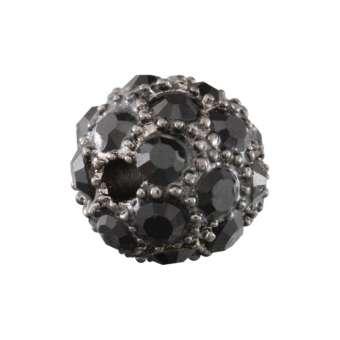 Strassperle, 10mm, rund, schwarz/ antik silberfarben schwarz/ antik silberfarben
