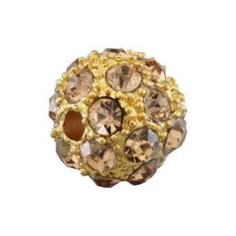 Strassperle, 10mm, rund, transparent goldfarben/ goldfarben transparent goldfarben/ goldfarben