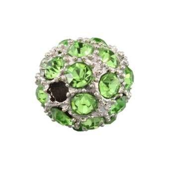 Strassperle, 10mm, rund, hellgrün/ silberfarben hellgrün/ silberfarben