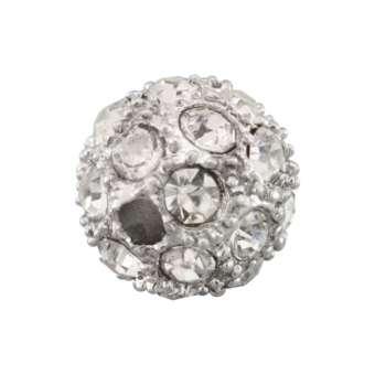 Strassperle, 10mm, rund, transparent/ silberfarben transparent/ silberfarben