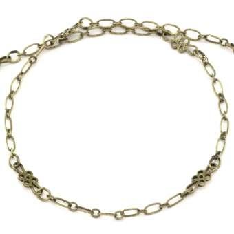 Kette (20cm), 3mm breit, asymmetrisch, bronzefarben bronzefarben