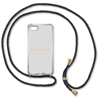 iPhone 7 und 8 Handy-Hülle, schwarz-gold, echtes Leder iPhone 7 u. 8, schwarz-gold, Leder