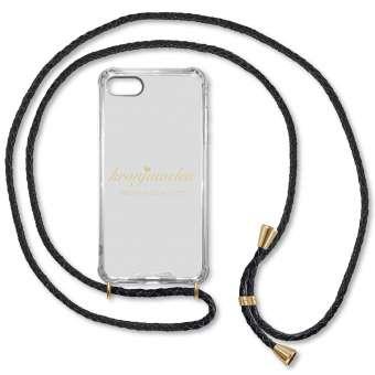 iPhone 7 Plus und 8 Plus Handy-Hülle, schwarz-gold, echtes Leder iPhone 7 Plus u. 8 Plus, schwarz-gold, Leder