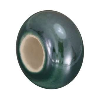 Keramik-Großlochperle (emailliert), 16mm, dunkeltürkis dunkeltürkis