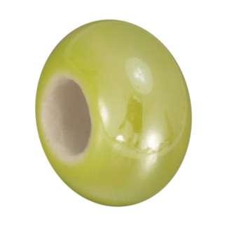 Keramik-Großlochperle (emailliert), 16mm, limetten gelb limetten gelb