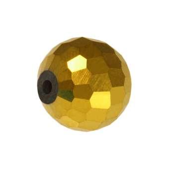 Glasschliffperle, Chessboard, 8mm, goldfarben