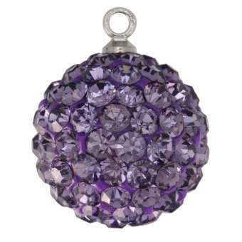 Anhänger mit ca. 70 Strass-Steinen, 14mm, violett violett