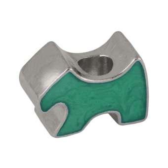 Hund Großloch-Perle, 16 mm, silberfarben (grün) silberfarben (grün)