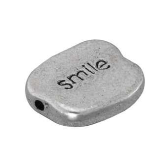 "Metallperle ""smile"", 12,5mm, silberfarben silberfarben ""smile"""