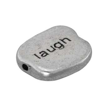 "Metallperle ""laugh"", 12,5mm, silberfarben silberfarben ""laugh"""