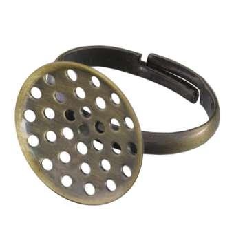 Ring mit Ø 16mm Fassung, 20mm, bronzefarben Ring mit Fassung, bronzefarben