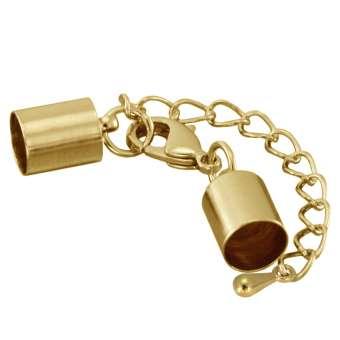 Verschluss mit Kette, 42X8,5mm, Loch-Ø 8mm, goldfarben