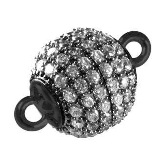 Juwelier Kugelverschluss mit Strass, 12 mm, Metall, schwarz-silberfarben 12mm schwarz-silberfarben