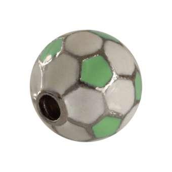 Fussball Perle, 11 mm, Metall, weiß / lindgrün