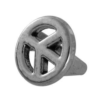 Slider mit Peace Zeichen, 14 mm, Loch-Ø ca. 8X10 mm, Metall, silberfarben