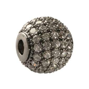 Juwelierperle, 10mm, rund, transparent/ antik-silberfarben 10mm antik-silberfarben