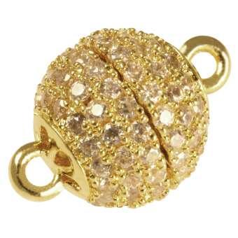 Juwelier Kugelverschluss mit Strass, 14 mm, Metall, goldfarben 14mm goldfarben