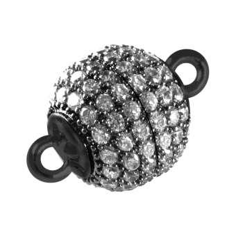 Juwelier Kugelverschluss mit Strass, 10mm, Metall, schwarz-silberfarben 10mm schwarz-silberfarben