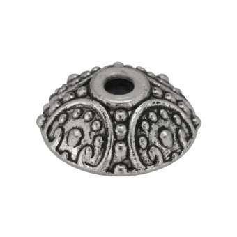 Perlenkappe, 10X4mm, Metall, silberfarben