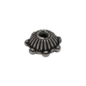 Perlenkappe, 6X2mm, Metall, silberfarben