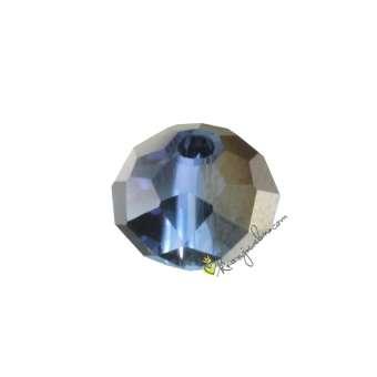 Glasschliffperle, briolette, 8X6mm, blau (schwarz-silber) blau (schwarz-silber)