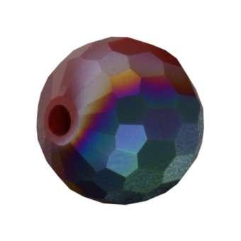 Glasschliffperle, Chessboard, 10mm, rot auore boreale rot auore boreale