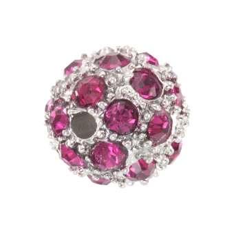 Strassperle, 10mm, rund, pink/ silberfarben pink/ silberfarben