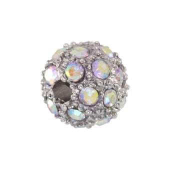 Strassperle, 8mm, rund, transparent (AB) / silberfarben transparent (AB) / silberfarben