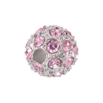 Strassperle, 8mm, rund, rosa/ silberfarben rosa/ silberfarben