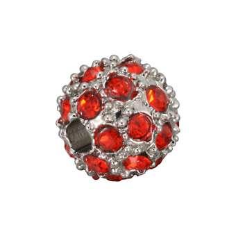 Strassperle, 8mm, rund, rot/ silberfarben rot/ silberfarben