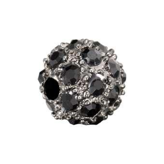 Strassperle, 8mm, rund, schwarz/ silberfarben schwarz/ antik silberfarben