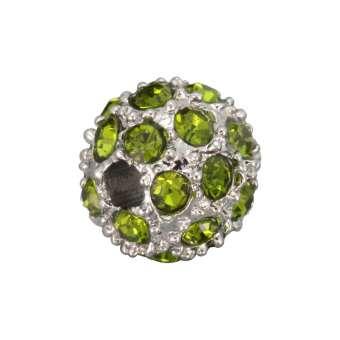 Strassperle, 8mm, rund, hellgrün/ silberfarben hellgrün/ silberfarben