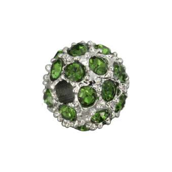 Strassperle, 8mm, rund, khaki grün/ silberfarben khaki grün/ silberfarben