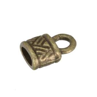Endkappe mit Ornamenten, 10X6mm, Loch-Ø 2X4,5mm, bronzefarben bronzefarben