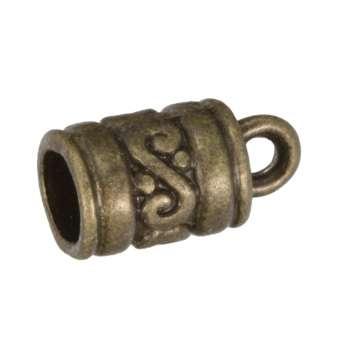 Endkappe mit Ornamenten, 13X7mm, Loch-Ø 5mm, bronzefarben bronzefarben