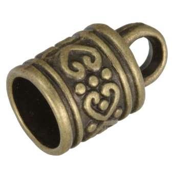 Endkappe mit Ornamenten, 16X10mm, Loch-Ø 7,5mm, bronzefarben bronzefarben
