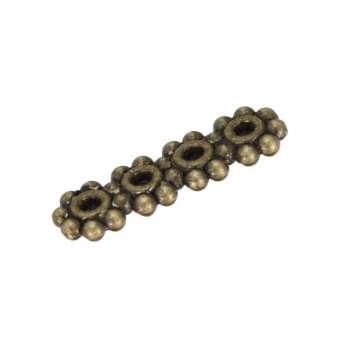 Metallspacer (4 Fädelösen, Loch-Ø 0,7mm), 14X4mm, bronzefarben 4 Fädelösen, bronzefarben