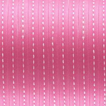 Satinband mit Streifen, 100cm, 6mm breit, dunkelrosa dunkelrosa