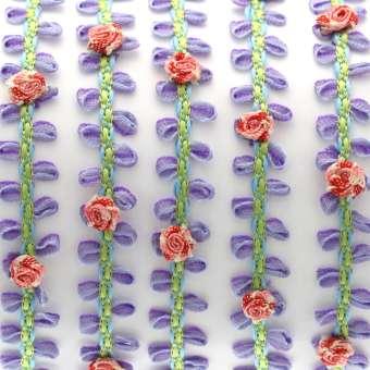 Fantasieband mit Schlaufen, 50cm, 10mm breit, violett-rosa (bunt) violett-rosa