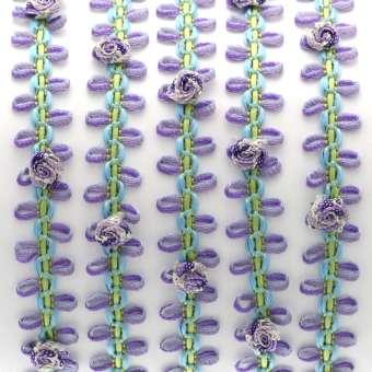 Fantasieband mit Schlaufen, 50cm, 10mm breit, violett-hellgrün (bunt) violett-hellgrün