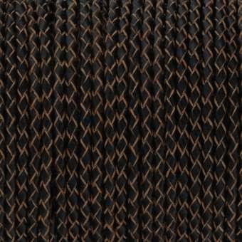 Geflochtenes Lederband (50cm), 3mm breit, rund, dunkelbraun dunkelbraun / natur