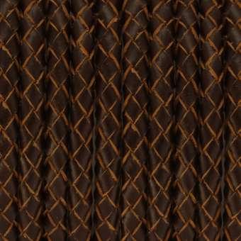 Geflochtenes Lederband, 50cm, 6mm breit, dunkelbraun
